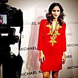 Katherine McPhee stopped by the Michael Kors party in a bright dress. Source: Instagram user michaelkors