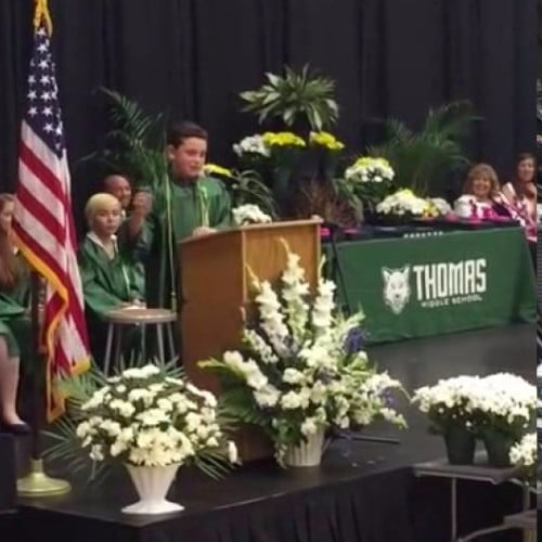 8th Grader Does Political Impressions at Graduation