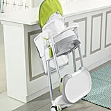 Slim Fold-Up Storage With the simple pull of two levers, the high chair can fold to half its size in profile, making it fit into closets for hidden storage or slide into trunks for travel.