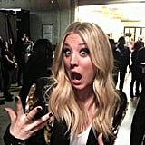 CBS tweeted a backstage photo of Kaley Cuoco. Source: Twitter user CBS