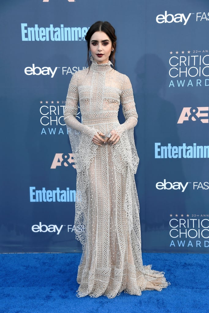 Lily Collins Elie Saab Dress at Critics' Choice Awards 2017