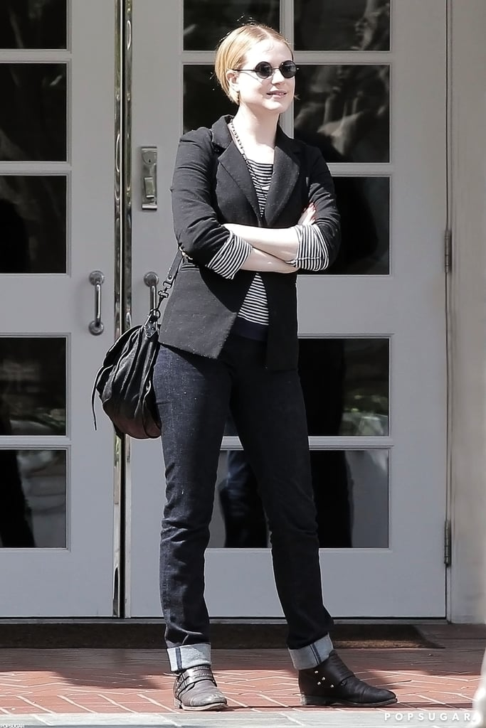 "Update: It has come to our attention that these photos are actually from before the wedding. Apologies, but still big congrats to Evan Rachel Wood and Jamie Bell!  Evan Rachel Wood had a smile on her face as she ran errands in LA. Evan Rachel Wood married Jamie Bell on Tuesday; it was a small affair with just close family and friends in attendance. The bride wore a gown by Carolina Herrera and shared her excitement on Twitter, writing, ""Words cannot describe the happiness I am feeling. Overwhelming."" Evan and Jamie started dating in 2005, though they took a break while Evan was with Marilyn Manson, and later reconnected. Evan has a big 2013 ahead of her with multiple movies in the works including The Necessary Death of Charlie Countryman with Shia LaBeouf."