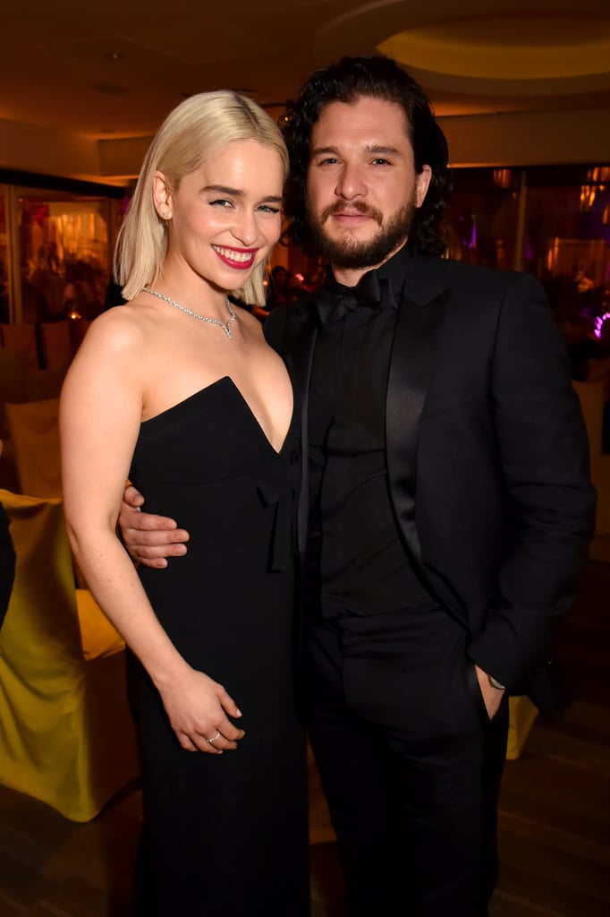 Game of Thrones season seven may have come to an end back in August 2017, but that doesn't mean the cast doesn't keep in touch. Just a day after Emilia Clarke reunited with Kit Harington at Sean Penn's annual Haiti Rising gala, the two popped up at HBO's Golden Globe Awards afterparty in LA. The bash also brought out Gwendoline Christie and Nikolaj Coster-Waldau and the foursome sat together inside. Sadly, Kit's other half, Rose Leslie, didn't make an appearance — perhaps she's busy planning their upcoming wedding? Either way, we're so here for this reunion!       Related:                                                                                                           Kit Harington and Emilia Clarke Are Just as Cute Together in Real Life