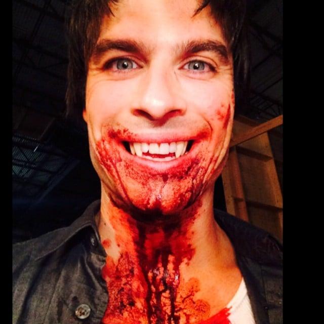 Ian Somerhalder showed off his vampire fangs and fake blood.  Source: Instagram user iansomerhalder