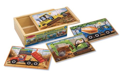For 3-Year-Olds: Melissa & Doug Construction Vehicles 4-in-1 Wooden Jigsaw Puzzles