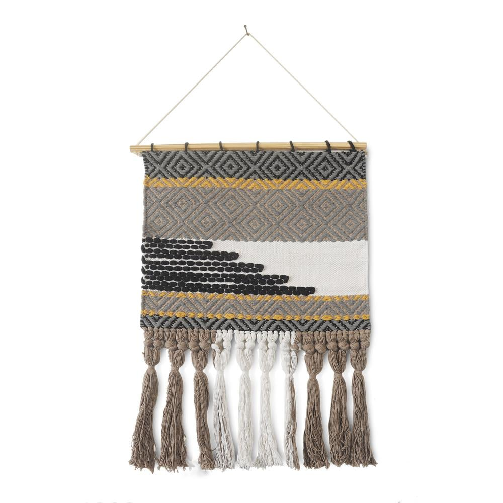 LR Home Trellis Neutral Black / Gray Geometric Fringe Wall Tapestry
