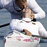 Kayak teammates Kurt Kuschela and Peter Kretschmer of Germany celebrated winning gold.