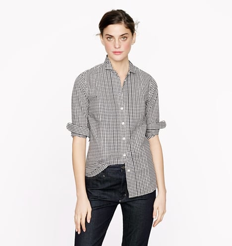 On its own, or layered up with checked blazer or a plaid skirt, this Thomas Mason Tuxedo Shirt in gingham ($150) is a Fall essential.
