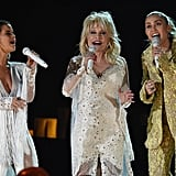Pictured: Maren Morris, Dolly Parton, and Miley Cyrus