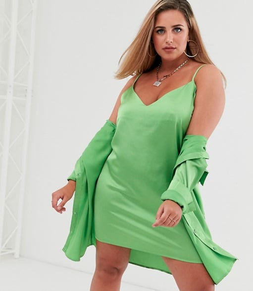 Missguided Plus Two-Piece Shirt Dress in Lime