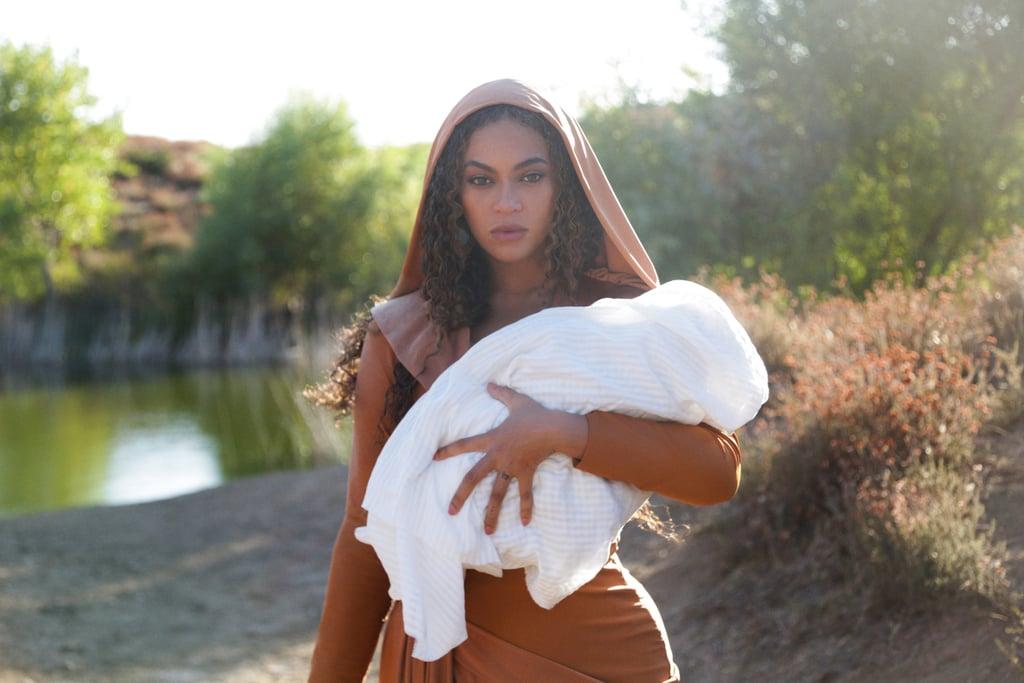 Beyoncé wears a hooded leather look.