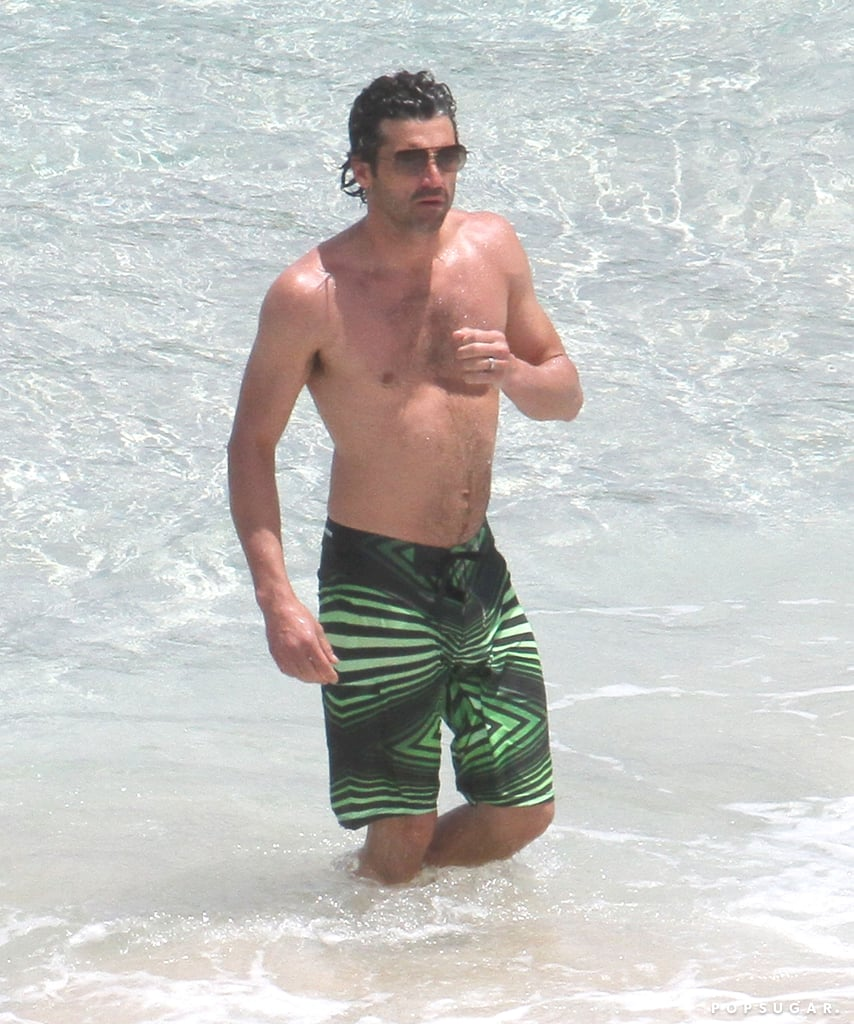 Patrick Dempsey showed off his abs in the water while vacationing in the Caribbean in May.