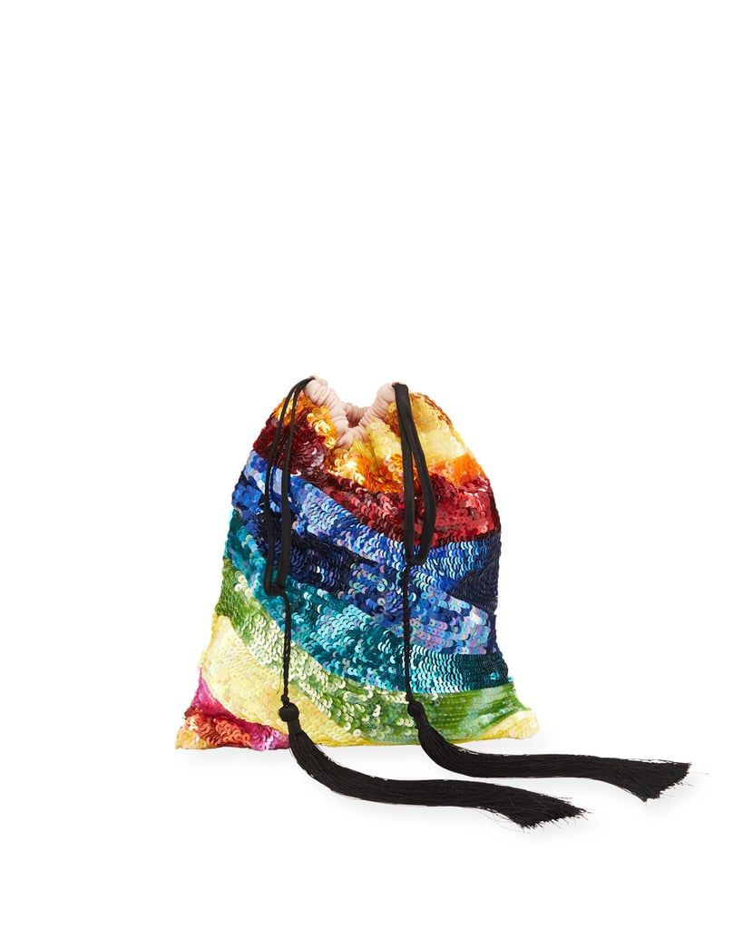 Attico Sequined Rainbow Drawstring Pouch Bag