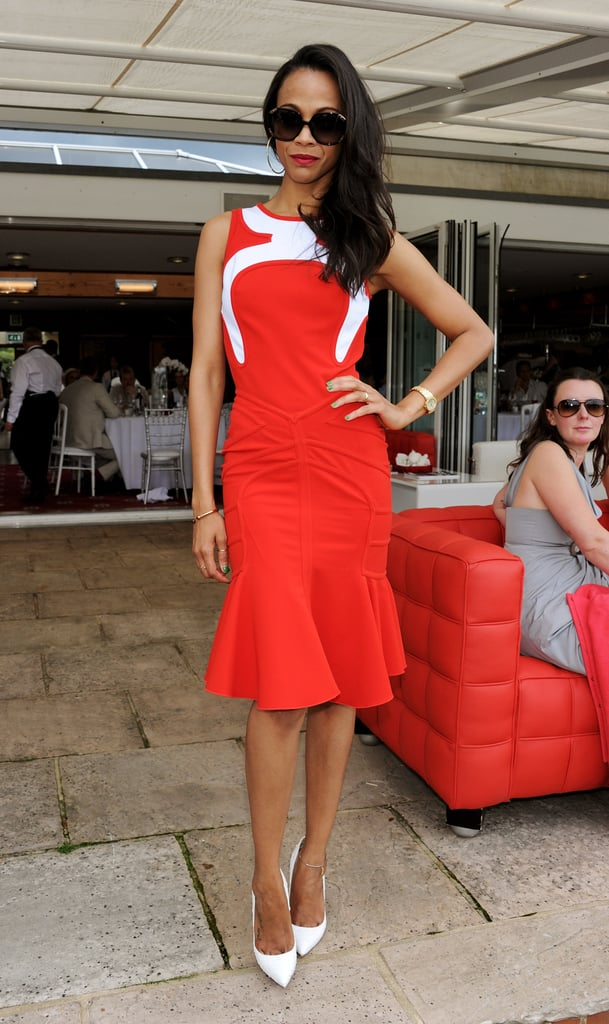 "Zoe Saldana defined ""red hot"" at the Audi International Polo match."