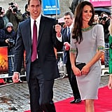 William was quite the gentleman as he helped protect Kate from the rain as they walked the red carpet for the African Cats premiere in 2012.