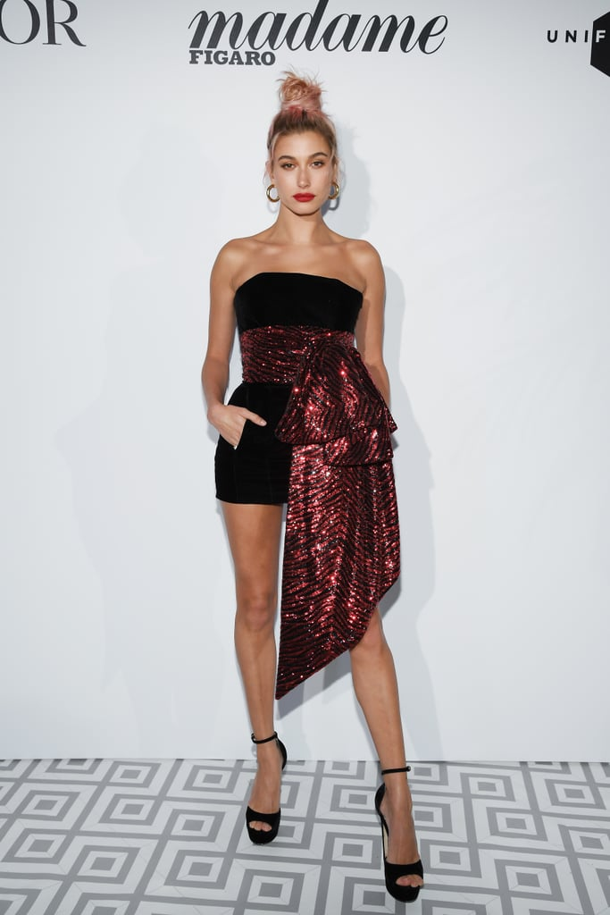 Hailey looked flirty and festive in this Alexandre Vauthier minidress at a Dior dinner during the Cannes Film Festival in May. She finished her look with Jimmy Choo heels and Jennifer Fisher hoops.