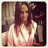 Joan Smalls sat waiting for her turn in hair and makeup at the Victoria's Secret Fashion Show. Source: Instagram user luckymagazine