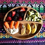 """""""Lunch: strawberries, blackberries, carrots, hummus, apples with sunflower butter and hemp hearts, and a new brand of veggie bites with less than 1 gram of sugar called Bearitos."""""""
