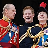 We'd love to know what Prince Philip was saying to make Harry laugh like this at Trooping the Colour in 2006.