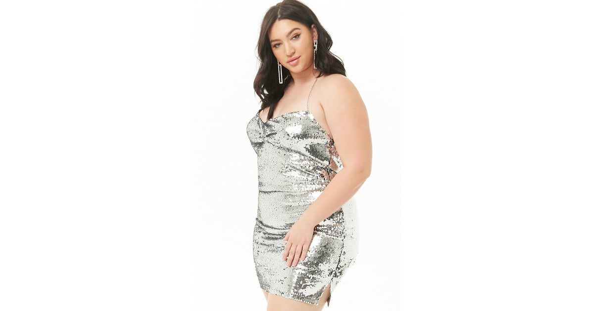 d8fe15bd Forever 21 Sequin Halter Dress | Hailey Baldwin Silver Chain Dress ...