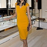 How gorgeous did she look in this yellow jewel-toned Michael Kors sheath at the designer's LA boutique opening in November 2011?