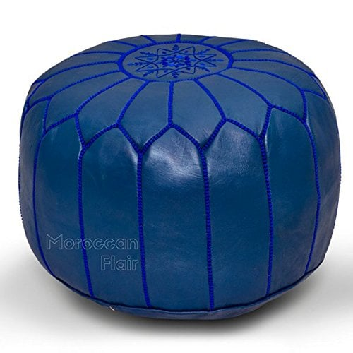 Moroccan Flair Leather Moroccan Pouf in Navy Blue