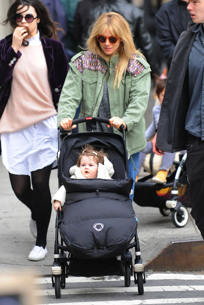 Sienna Miller took Marlowe for a stroll in NYC on Saturday.
