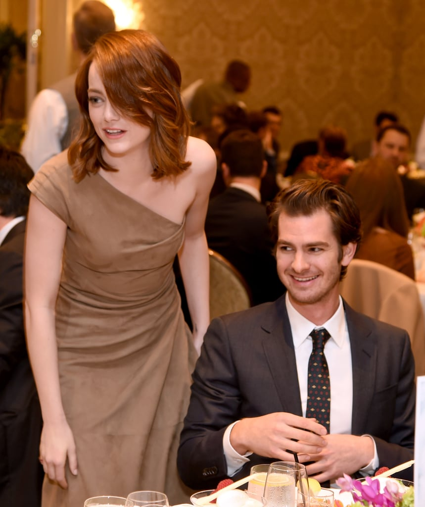 "The annual AFI Awards luncheon rolled through LA on Friday, and while we expected Emma Stone and Ryan Gosling to stick together, we didn't see the reunion between exes Emma and Andrew Garfield coming. After posing for pictures on the red carpet with her La La Land costar, Emma made her way inside the venue and approached Andrew at his table. According to Us Weekly, the two chatted for a bit and were very happy to see each other. Andrew introduced her to everyone at his table and Emma was friendly. Once the event was over, Andrew dropped by Emma's table and said goodbye before heading out. He even showed her a bracelet he was wearing and Emma seemed to approve.  Emma and Andrew officially ended their three-year relationship back in October 2015. Following their breakup, sources close to the pair said, ""They still have a lot of love for one another and they are on good terms with each another and remain close. It just wasn't working."" More recently, both stars attended the Critics' Choice Awards, and Andrew told The Hollywood Reporter that he would want to be stranded with Emma on a deserted island, adding, ""I love Emma. She's all right. She can come."" While the former couple's reunion could have been awkward, it appeared to be a good night for everyone involved."