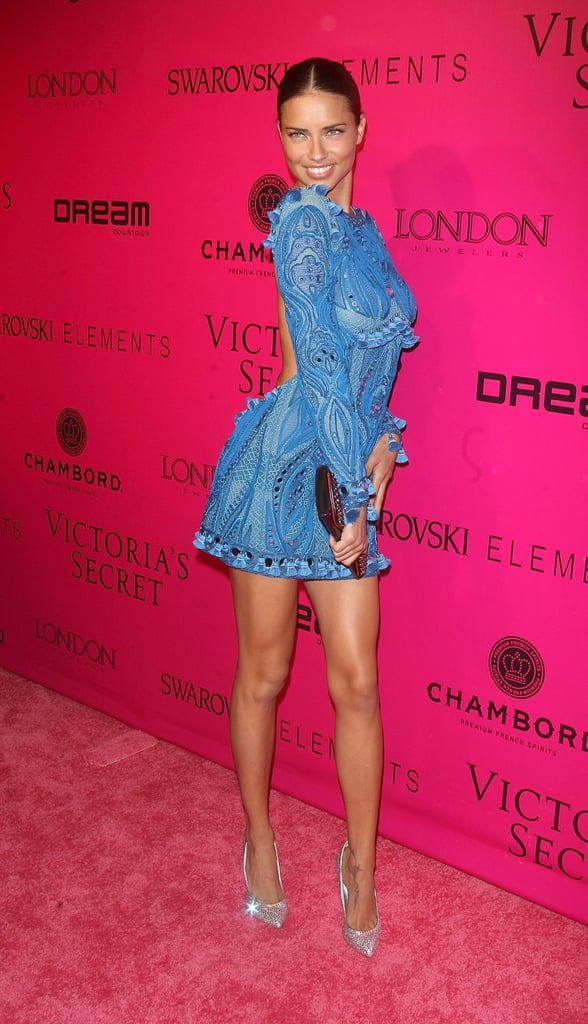 Adriana Lima hit poses on the pink carpet at the Victoria's Secret Fashion Show afterparty.