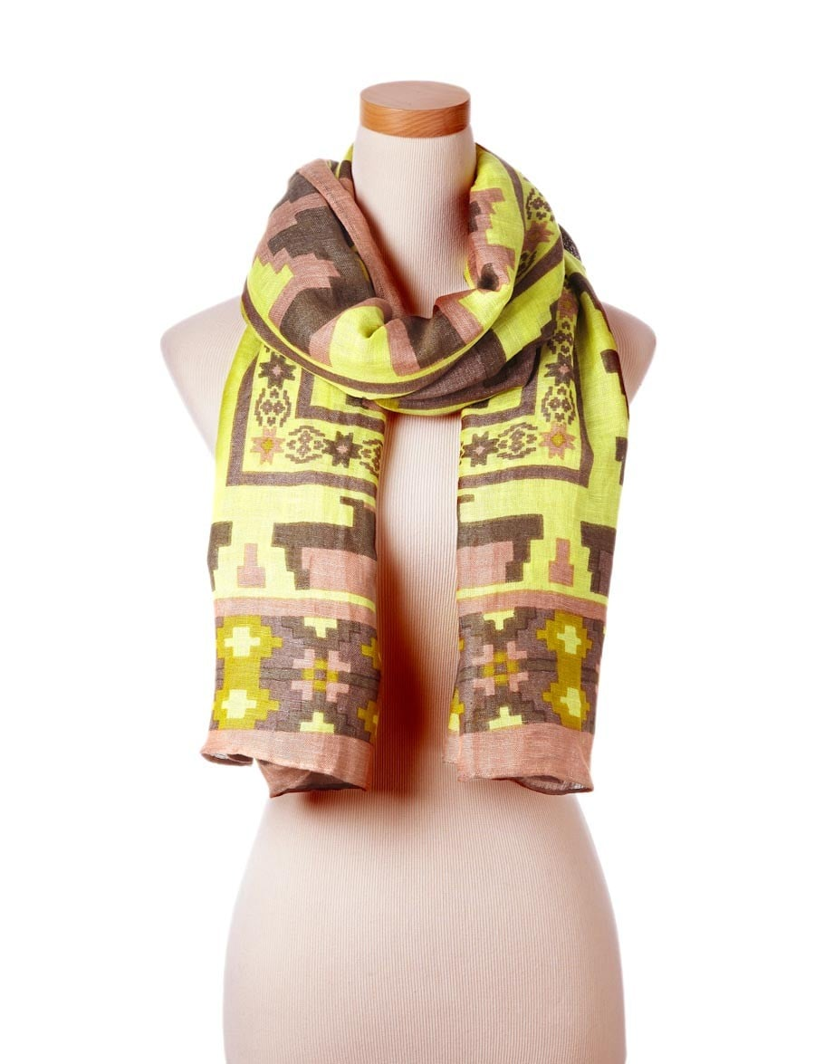 I can't decide what's more impressive about this Theodora & Callum citron Yucatan scarf ($175): it's fresh color combo or the fact that you can tie it into harem pants in under a minute! I can't wait to take it with me on my beach escapes.  — Melody Nazarian