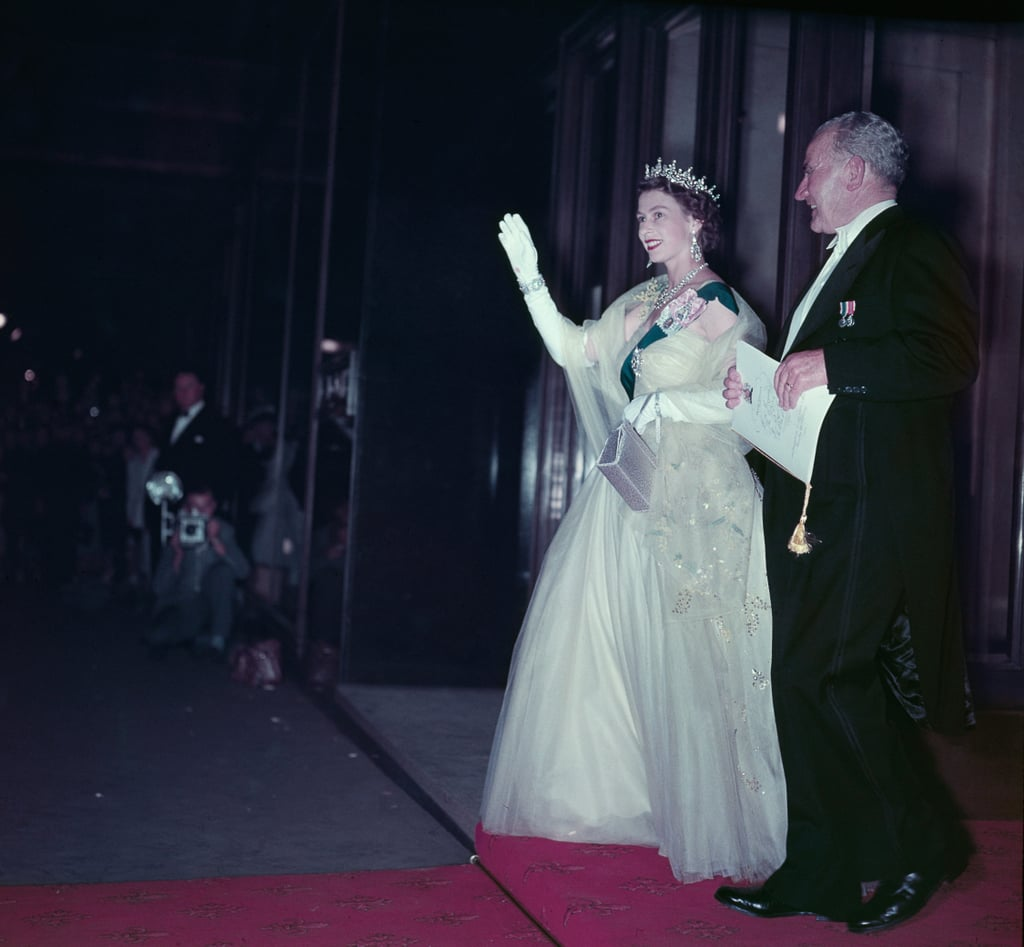 The Queen at a State Banquet in Canberra in Feb. 1954.