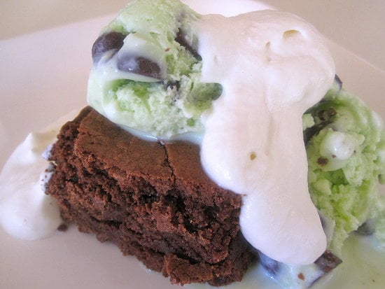 Double Chocolate Mint Brownie Sundaes