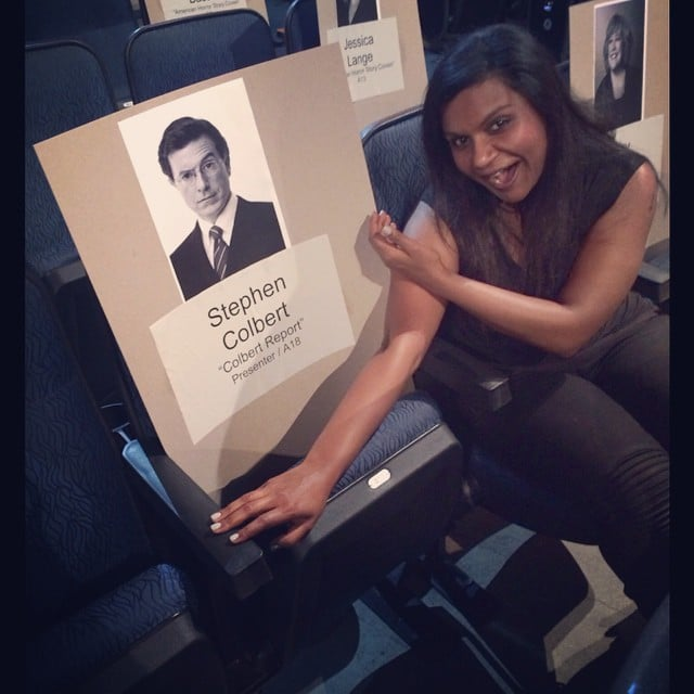 Mindy Kaling joked around during the Emmy presenting rehearsals.  Source: Instagram user mindykaling