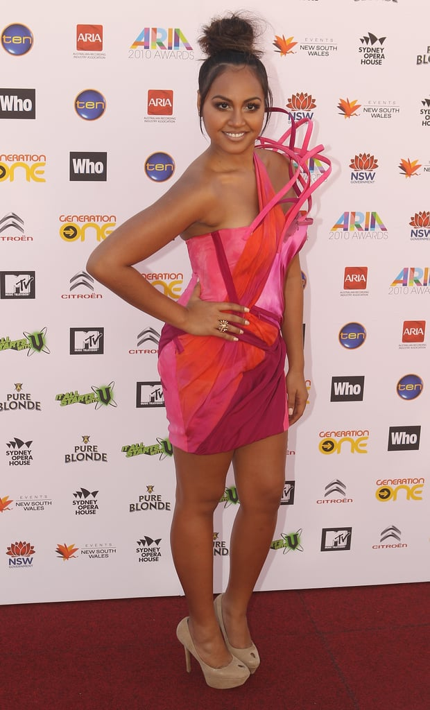 Jessica Mauboy heats it up in fuschia Toni Maticevski.