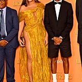 Pictured: Lebo M., Beyoncé, and Pharrell Williams at The Lion King premiere in London.