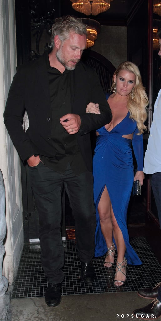 """Jessica Simpson is one hot mama! Over the weekend, the star was spotted enjoying a sexy night out with husband Eric Johnson at Mastro's restaurant in Beverly Hills. The fashion designer turned heads in a plunging blue dress and Eric looked dapper in an all-black ensemble. While Jessica has been enjoying her time in the fashion world, it appears as though she's ready to get back to her music career. Just last week, she shared a couple of photos of herself in a recording studio along with a caption that read, """"Studio Vibin'."""" Read on to see more of Jessica's date night, then check out her cutest moments with Eric."""