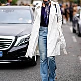 Style a Thin Scarf With a White Trench Coat