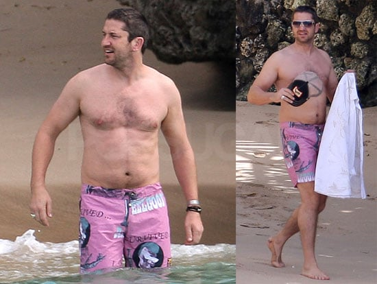 Photos Of Gerard Butler Shirtless Spending The New Year In Barbados