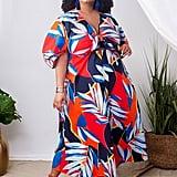 ELOQUII Puff-Sleeve Maxi Dress