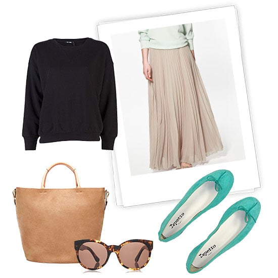 Keep it easy for day by adding a cozy topper to a femme, sheer pleated maxi skirt. Give it a transitional finish with neoprene flats in a bright color, a neutral tote, and a pair of statement shades.  Blk Dnm Loose Sweatshirt ($70), Repetto Bb Suede Ballet In Amazon Green ($270), Zara Large Rigid Shopper ($169)