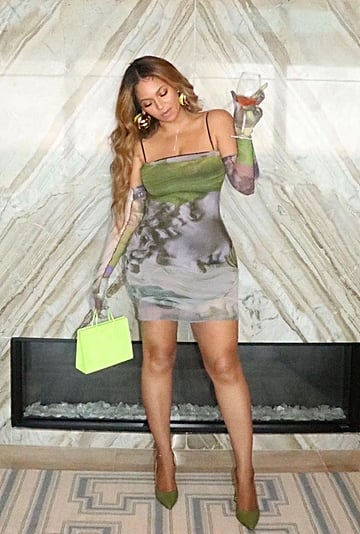 Beyoncé's Mesh Dress and Gloves by Sustainable Brand Auné