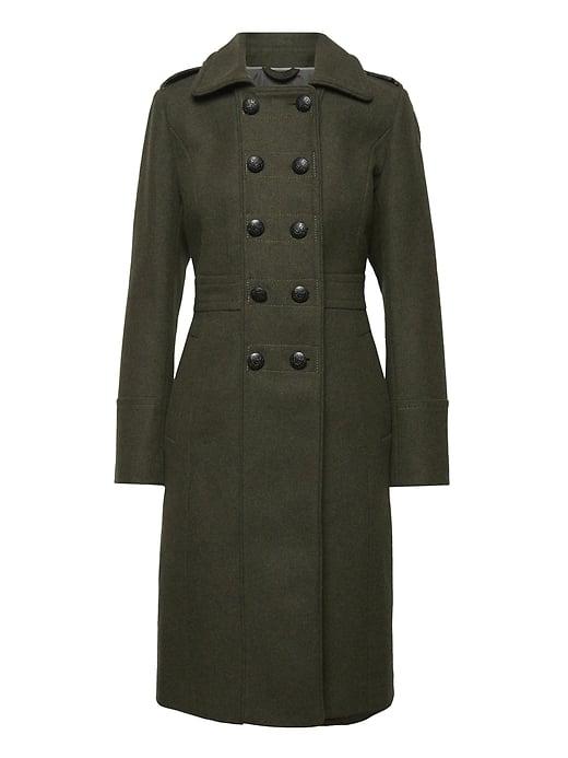 Wool-Blend Military Coat
