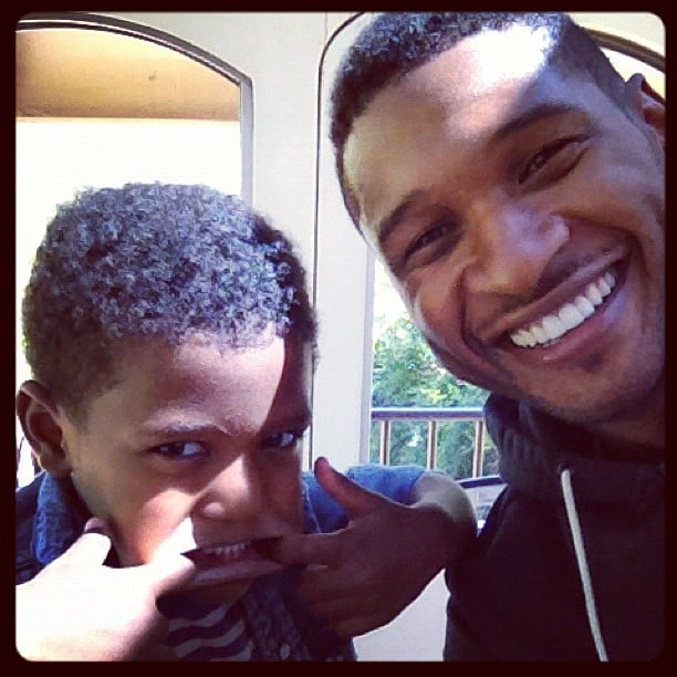 Usher posed for a silly photo with his son Naviyd. Source: Instagram user howuseeit