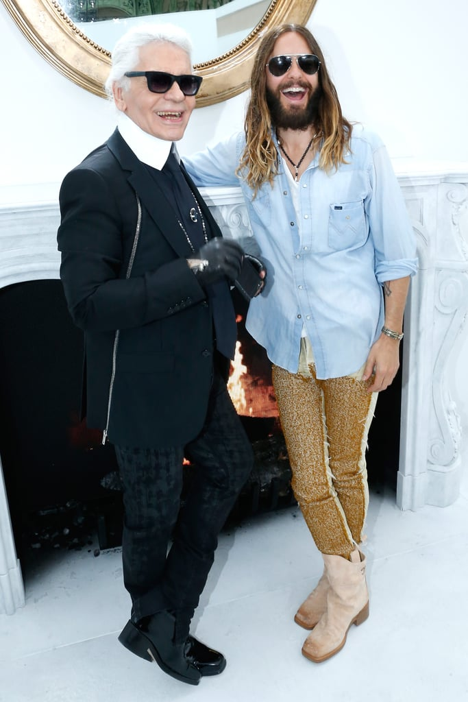 Jared Leto cracked up with Chanel's Karl Lagerfeld backstage at his Haute Couture Fashion Week show in Paris on Tuesday.