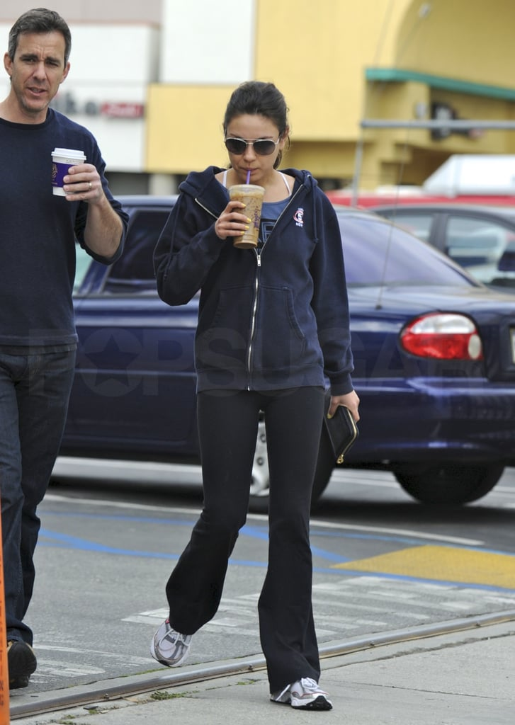 Pictures of Mila Kunis Getting a Coffee After a Workout