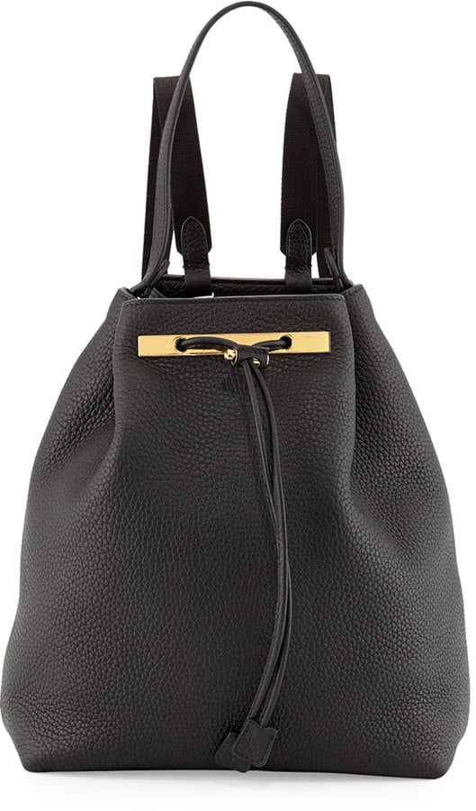 The Row Backpack 9 Leather Hobo Bag, Black