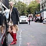 Style It With a Blazer and Red Boots