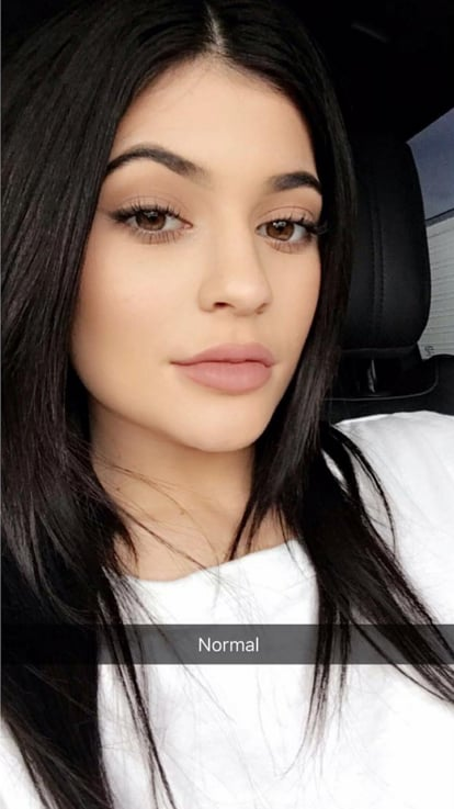 "Kylie's ""normal"" look featuring a relaxed mouth."