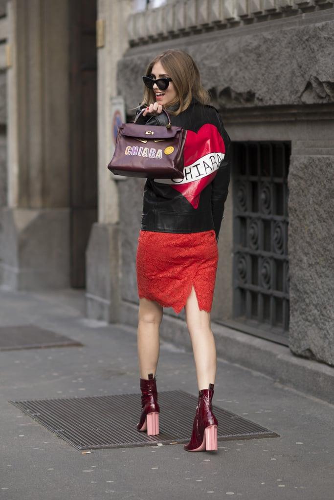 Chiara Ferragni wearing a Valentino Dress and Hèrmes bag.