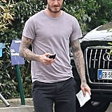 David Beckham made his way to the car after a Paris Saint-Germain training on Saturday.